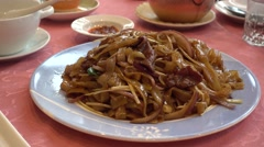 Stir-Fried Rice Noodles with Beef,,canton cuisine - stock footage