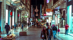 4K 30p People on Ermou commercial street Athens,night timelapse Stock Footage