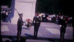 2760 - Tomb of Unknown Soldier, changing of the guard - vintage film home movie Stock Footage