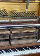 tuner inside of a piano with little hammer and strings - stock photo