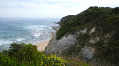 Australia Great Ocean Road Glenaire cliff Stock Footage