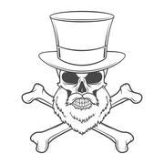 Outlaw skull with beard, high hat and cross bones portrait vector. Crossbones Stock Illustration