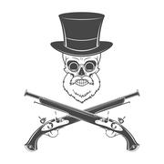 Gentleman of fortune skeleton with beard, glasses, top hat and flint guns - stock illustration