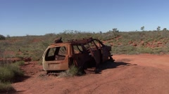 Carwreck in the outback 1 Stock Footage