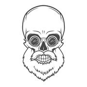 Evil Bearded Jolly Roger with glasses logo template. Old biker t-shirt design - stock illustration