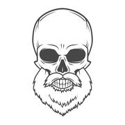 Evil Bearded Jolly Roger logo template. Old biker t-shirt design. Rock and roll Stock Illustration