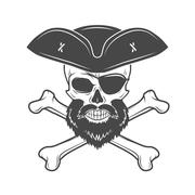 Pirate skull in cocked hat with beard, eye patch and crossed bones vector - stock illustration