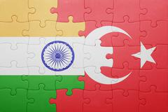 Stock Illustration of puzzle with the national flag of turkey and india