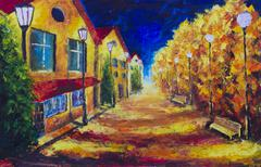 Night yellow houses at autumn deserted street. Street lights. Stock Illustration