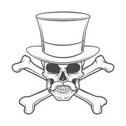 Outlaw skull with mustache, high hat and crossbones portrait. Crossbones head Stock Illustration