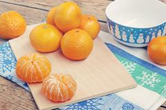 New Year's still life with tangerines - stock photo