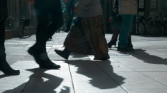 People Walking on Stockholm Street Low-Angle Stock Footage