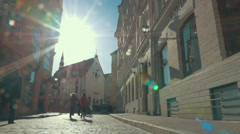 Old Street in Tallinn, Estonia Lit with Sun Stock Footage