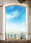 Modern town through ancient window Stock Illustration