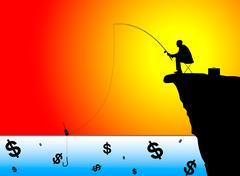 Silhouette of businessman fishing for money - stock illustration