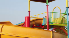 The highest point of slides is in the pool of waterpark Stock Footage
