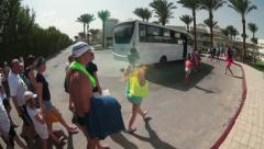 Resort shuttle comes to the final stop for passengers carriage, Hurghada, Egypt Stock Footage