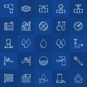 Water supply line icons Stock Illustration