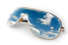 Blue sky in sunglasses Stock Illustration