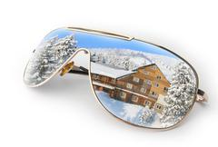 Winter landscape in sunglasses Stock Illustration