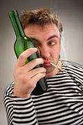 Drunk bizarre sailor - stock photo