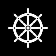 The ship steering wheel icon. Sailing symbol. Flat Stock Illustration
