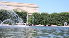 Fountain near building of Archives of United States of America Stock Footage