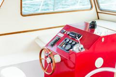 The helm of a luxury yacht Stock Photos