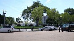 Police near White House in Washington, United States - stock footage