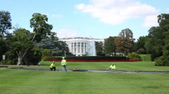 Workers near White House among, green lawn in Washington Stock Footage