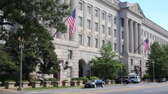 US Department of Commerce in Washington and moving cars Stock Footage