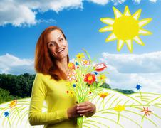 Smiling happy young woman with flowers Stock Photos