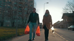 Couple Going Home after the Shopping Stock Footage