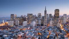 San Francisco Downtown from top of Coit Tower in Telegraph Hill, Dusk. - stock photo
