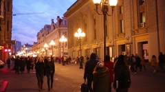 Night Arbat. Street became most popular places among foreign tourists Stock Footage