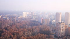 Panoramic view of residential district of modern city at autumn Stock Footage
