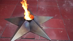 Eternal Flame - monument to fallen soldiers and enforcement personnel Stock Footage