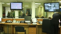 Call center in police of North-East district of Moscow - stock footage