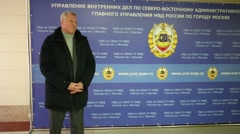 Chairman of Board of Veterans Police, A.Yarovikov performs in police - stock footage
