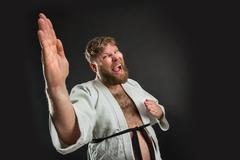 Fat karate fighter Stock Photos