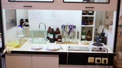 Chemical laboratory with preparations and many tools. Stock Footage