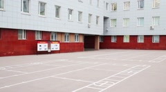 Courtyard of office building with marking for training - stock footage