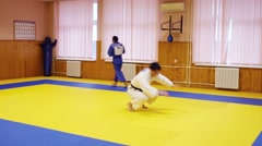 Men train in police of North-East district of Moscow In Russia Stock Footage