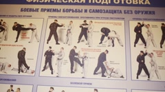 Combat techniques drawings in police of Moscow North-East district Stock Footage