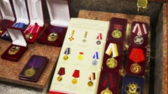 Medals in museum in police of Moscow North-East district Stock Footage