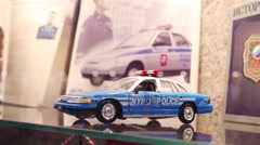Miniature of police car in museum in police of North-East district Stock Footage