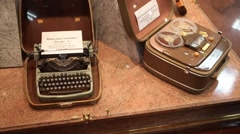 Typewriters in museum in police of Moscow North-East district Stock Footage