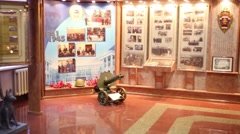 Small museum in police of Moscow North-East district. Stock Footage