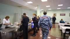 People in canteen in police of Moscow North-East district Stock Footage