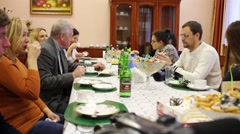 Banquet for reporters in police of Moscow North-East district. Stock Footage